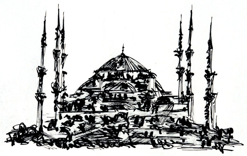 sketch 040 the blue mosque, istanbul turkey